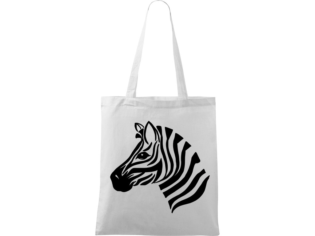 Plátěná taška Handy bílá s černým motivem - Zebra