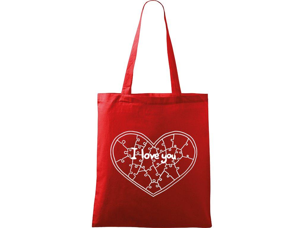 Plátěná taška Handy červená s bílým motivem - Puzzle srdce