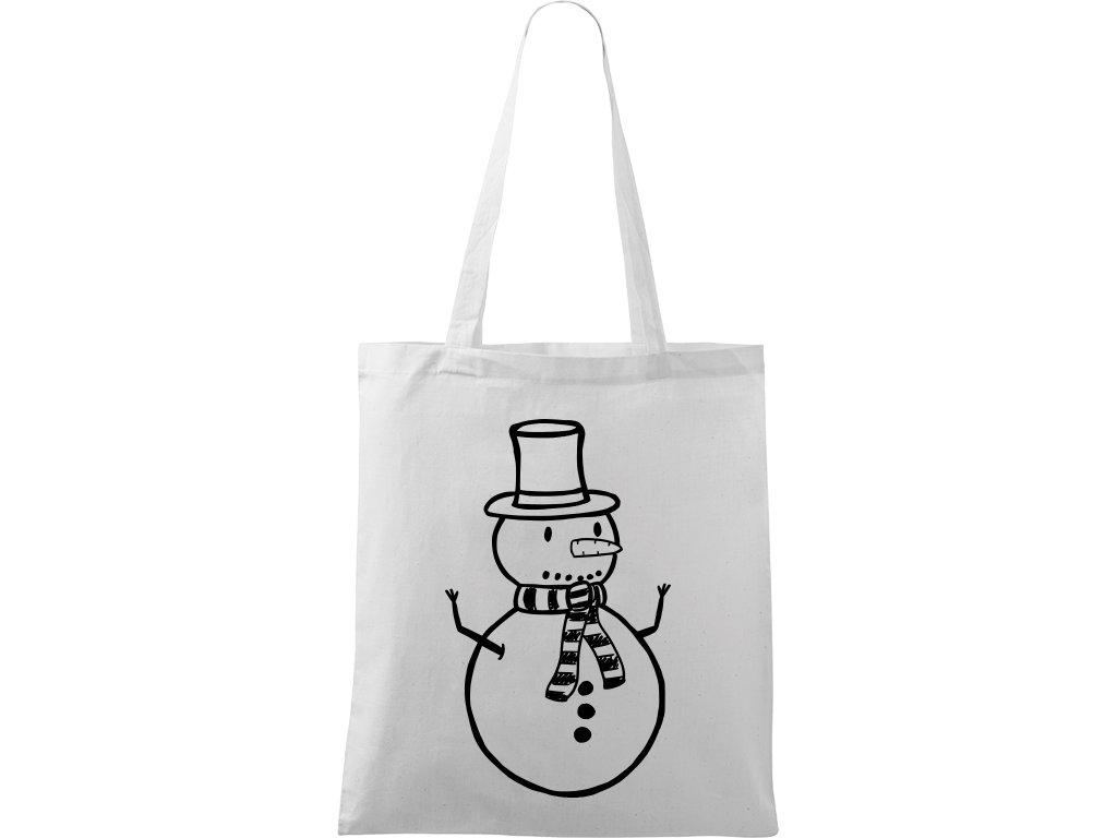 Plátěná taška Handy bílá s černým motivem - Sněhulák