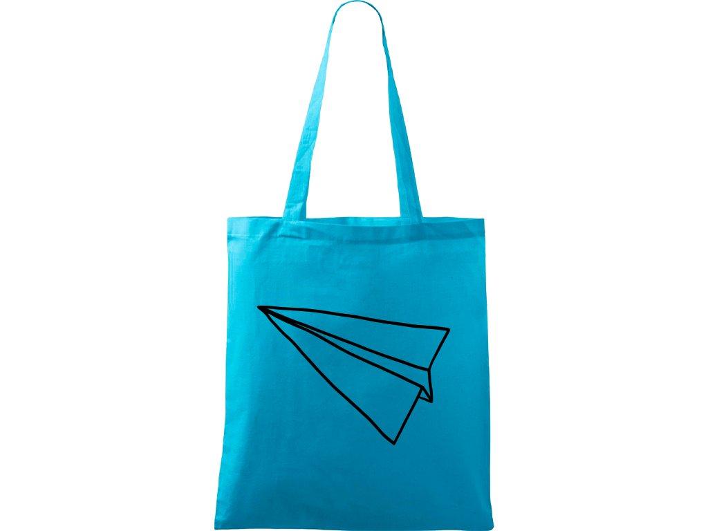 Plátěná taška Handy tyrkysová s černým motivem - Šipka samotná