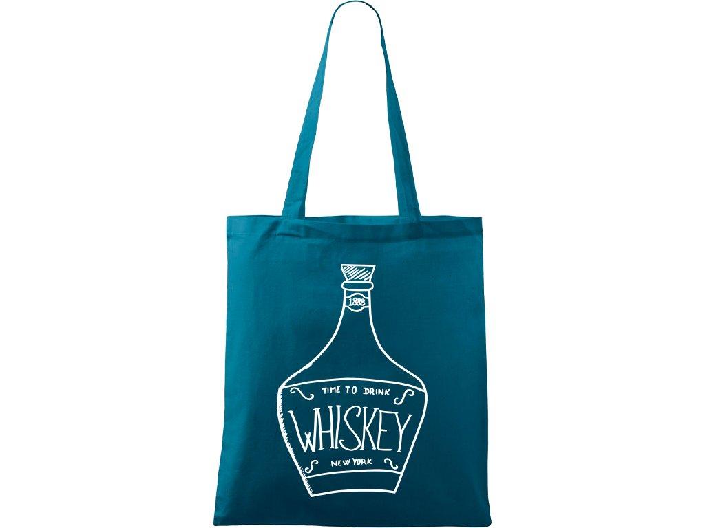Plátěná taška Handy petrolejová s bílým motivem - Whiskey