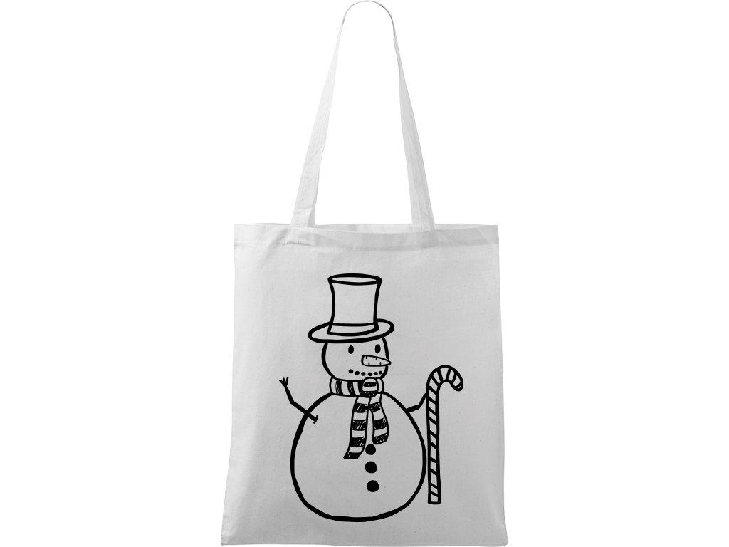 Plátěná taška Handy bílá s černým motivem - Sněhulák s ozdobou