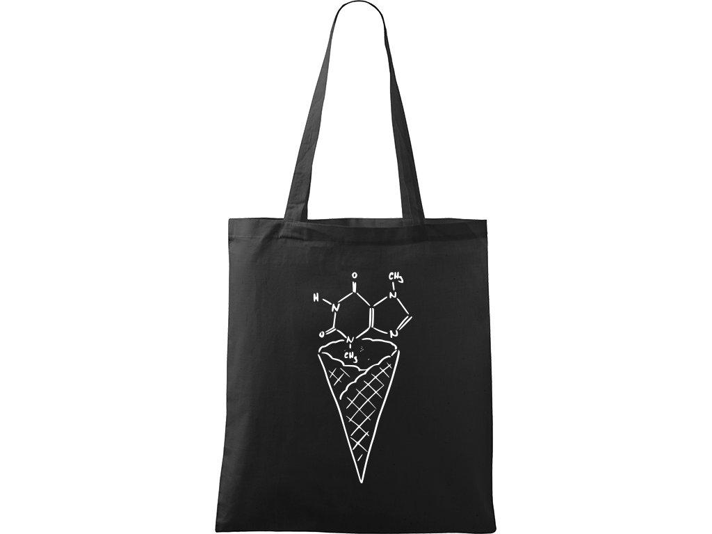 Plátěná taška Handy černá s bílým motivem - Zmrzlina - Čokoláda