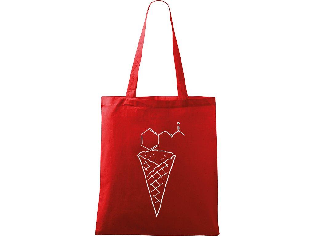 Plátěná taška Handy červená s bílým motivem - Zmrzlina - Jahoda