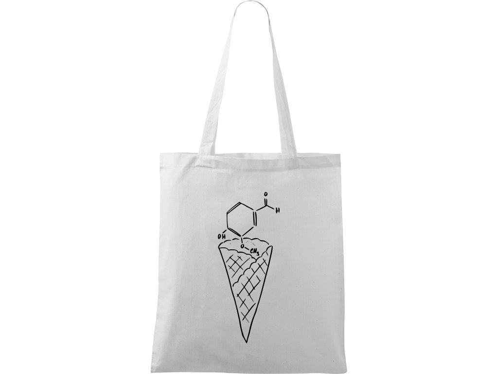 Plátěná taška Handy bílá s černým motivem - Zmrzlina - Vanilka