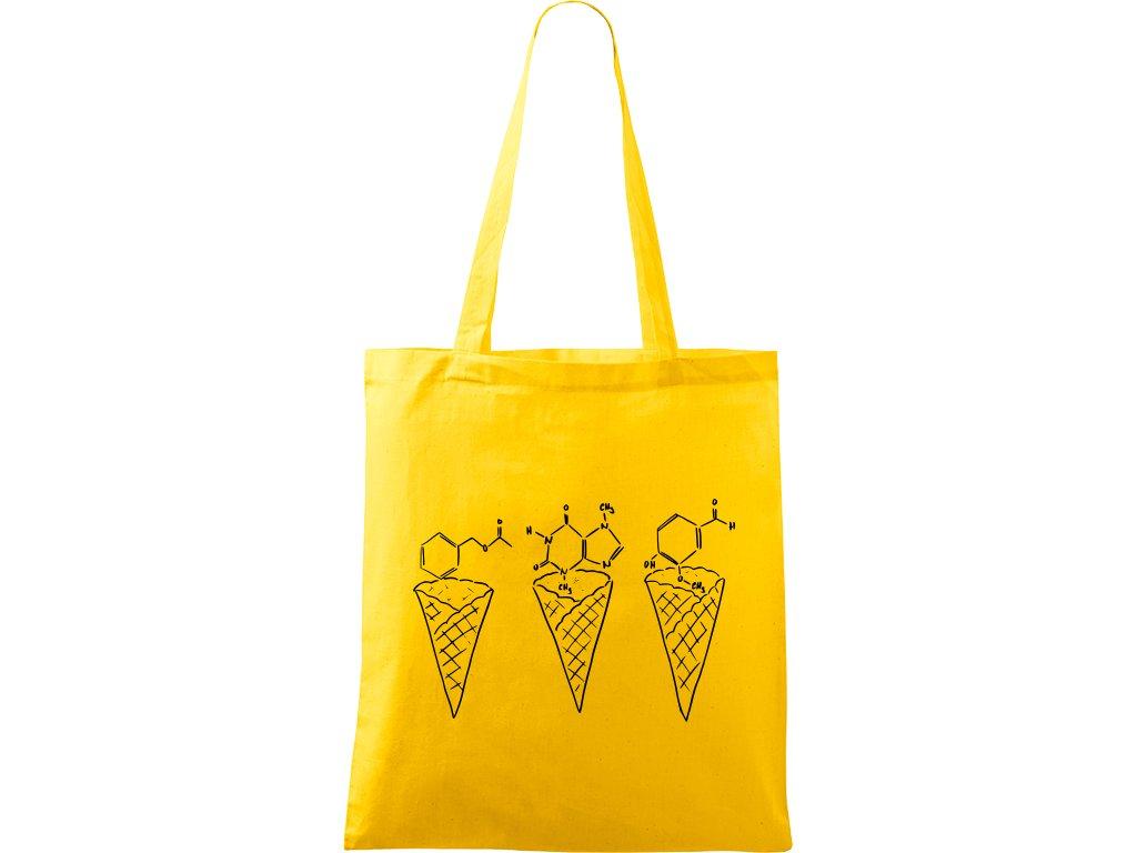 Plátěná taška Handy žlutá s černým motivem - Zmrzliny - Čokoláda, jahoda a vanilka