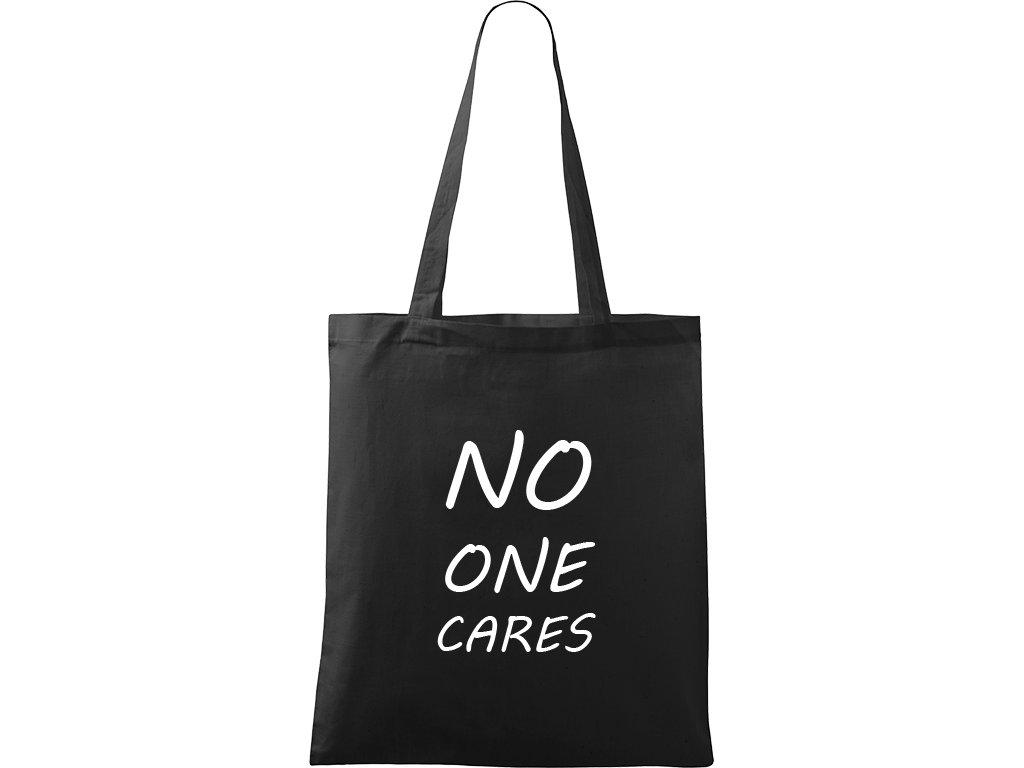 Plátěná taška Handy černá s bílým motivem - No One Cares
