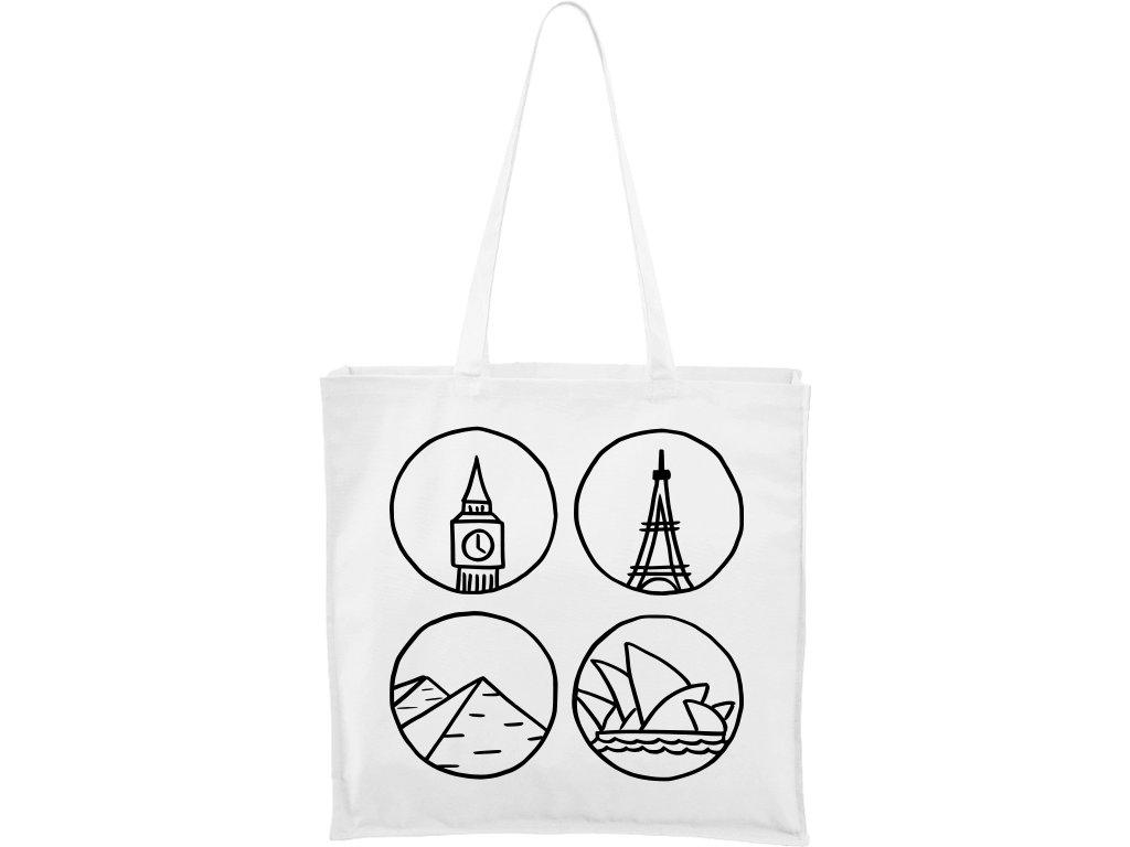 Plátěná taška Carry bílá s černým motivem - Big Ben, Eiffelovka, Pydamidy a Opera v Sydney