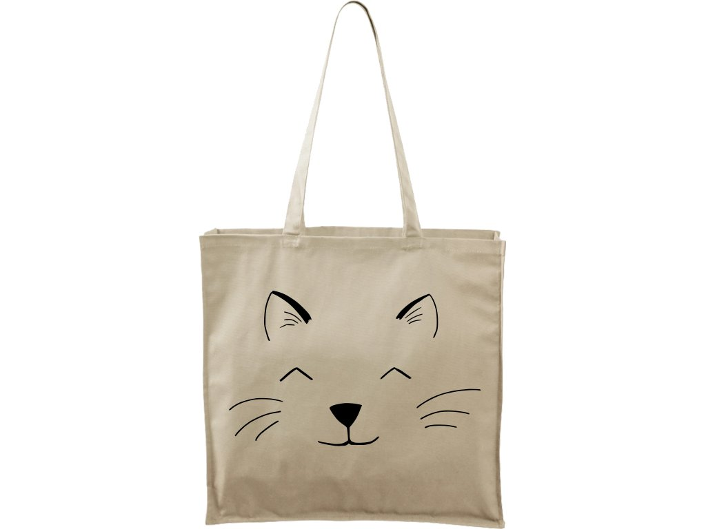 Plátěná taška Carry přírodní s černým motivem - Cat Face