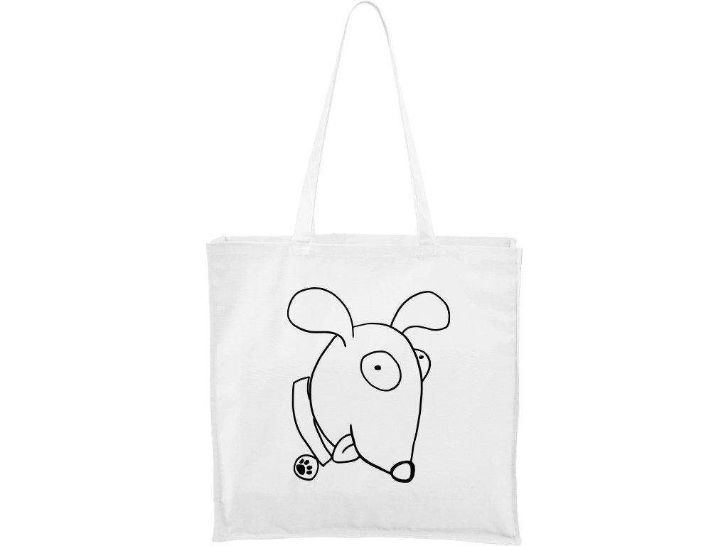 Plátěná taška Carry bílá s černým motivem - Crazy Pes