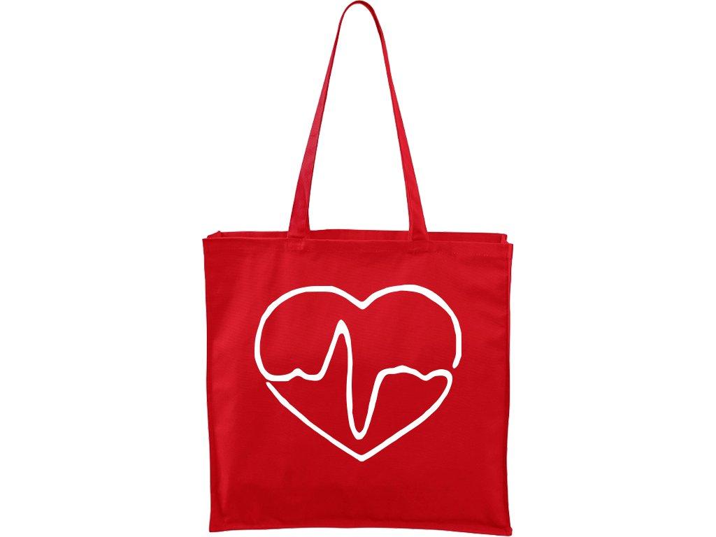 Plátěná taška Carry červená s bílým motivem - Doktorské srdce