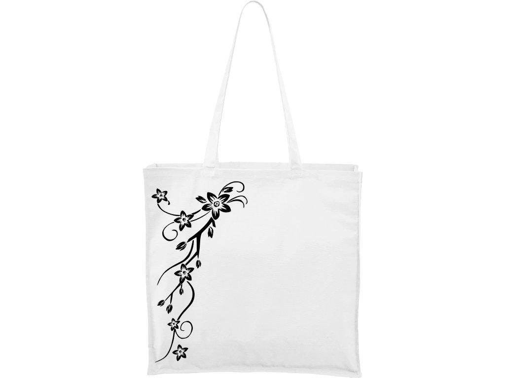 Plátěná taška Carry bílá s černým motivem - Květy