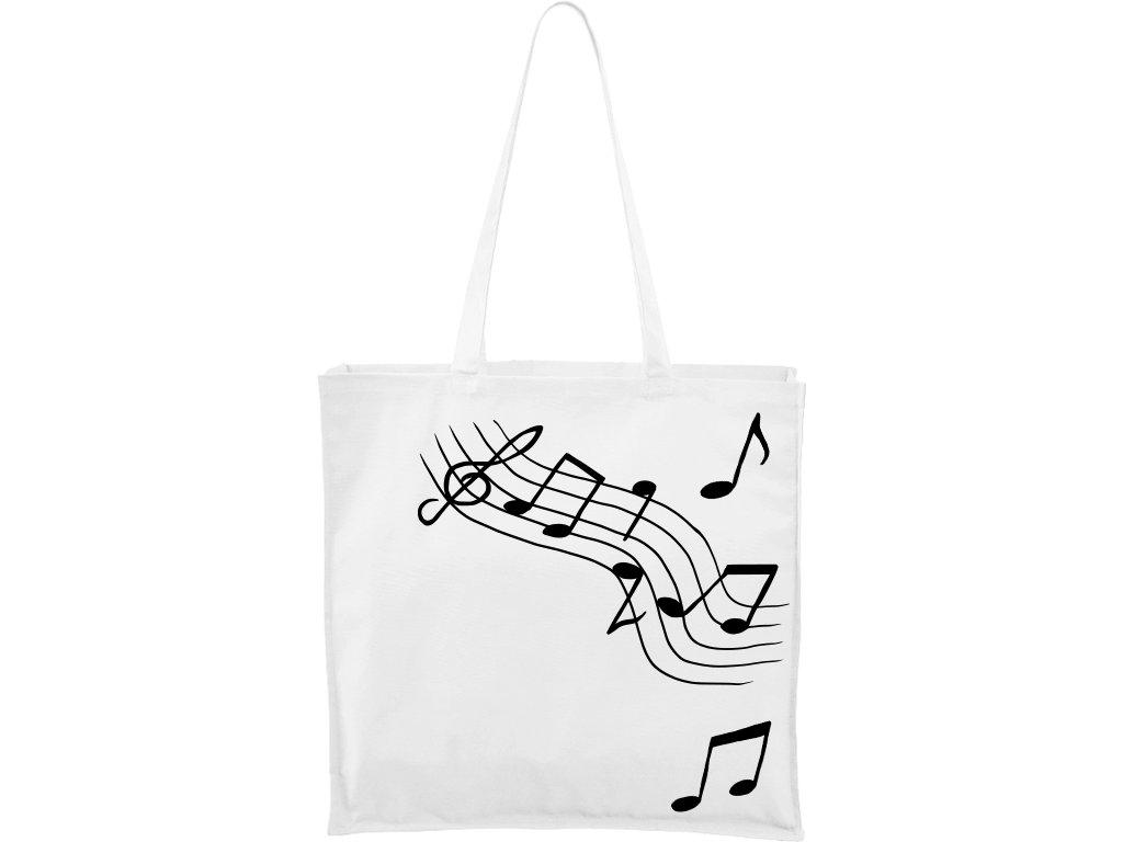 Plátěná taška Carry bílá s černým motivem - Noty