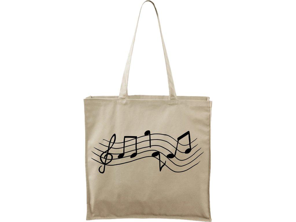 Plátěná taška Carry přírodní s černým motivem - Noty rovně