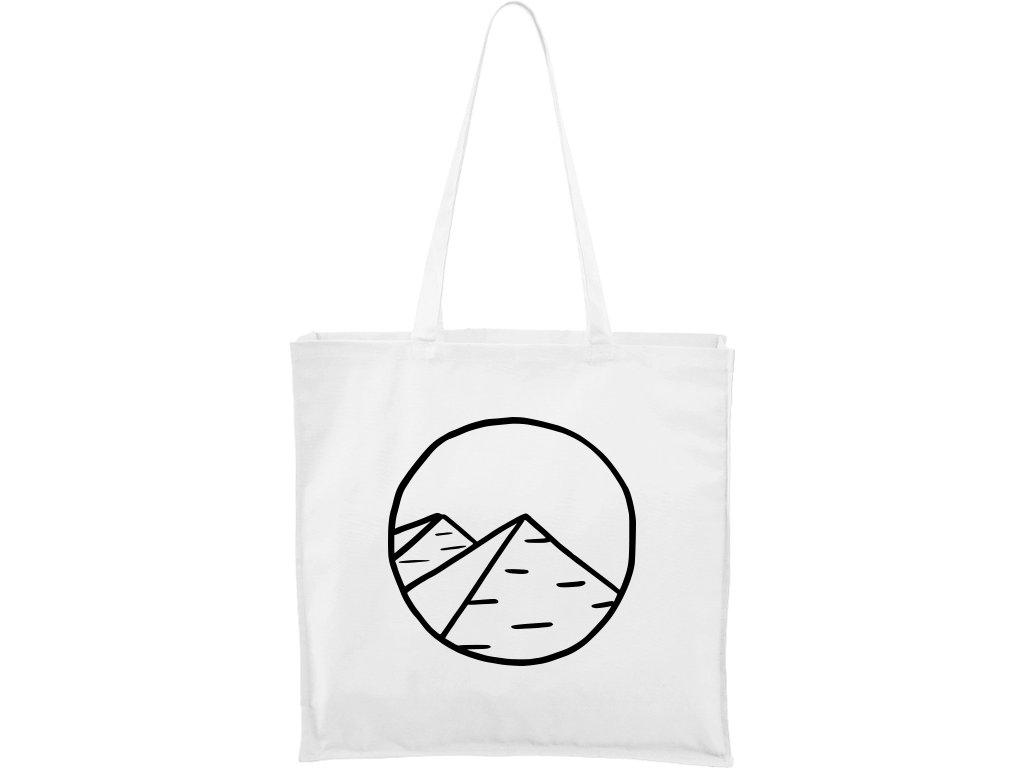Plátěná taška Carry bílá s černým motivem - Pyramidy