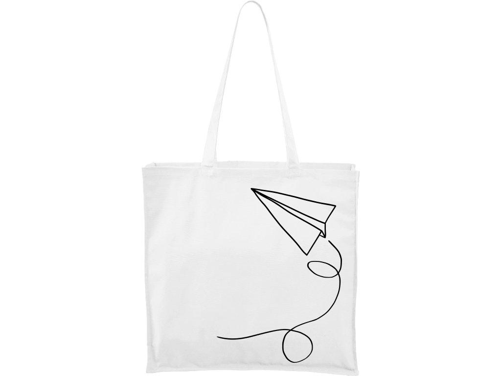Plátěná taška Carry bílá s černým motivem - Šipka
