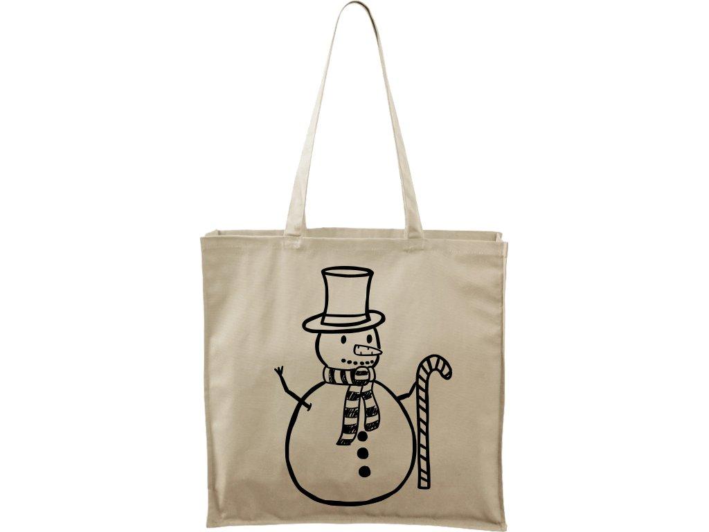 Plátěná taška Carry přírodní s černým motivem - Sněhulák s ozdobou