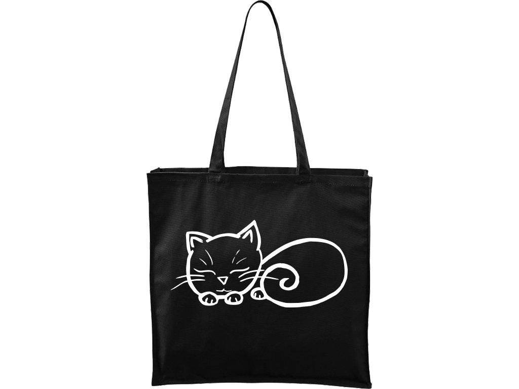 Plátěná taška Carry černá s bílým motivem - Spící kotě