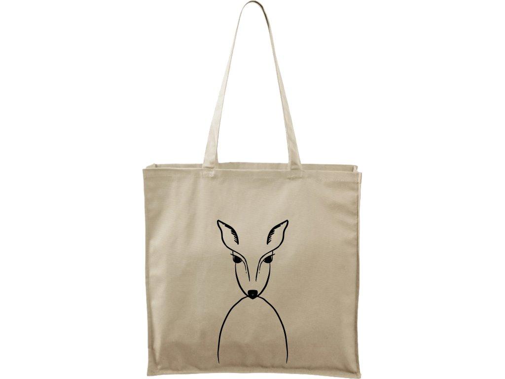 Plátěná taška Carry přírodní s černým motivem - Srnka