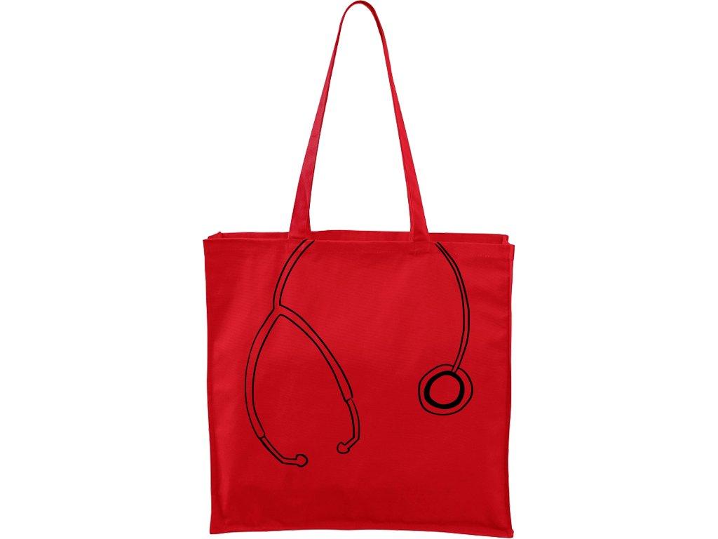 Plátěná taška Carry červená s černým motivem - Stetoskop