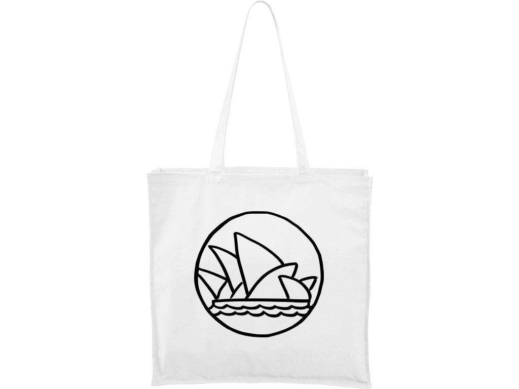 Plátěná taška Carry bílá s černým motivem - Opera v Sydney