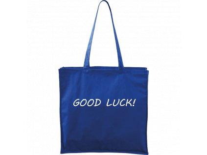 Plátěná taška Carry modrá s bílým motivem - Good Luck!