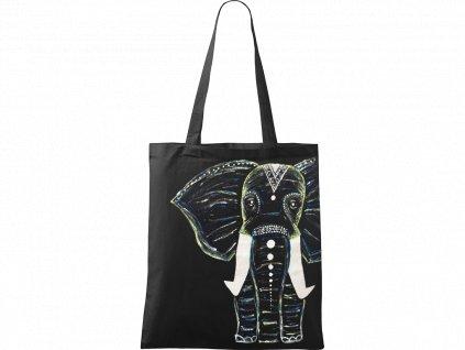 Ručně malovaná plátěná taška Handy - Slon - Černá