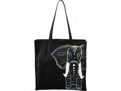 Ručně malovaná plátěná taška Carry - Slon - Černá