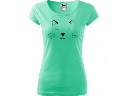 Ručně malované triko mátové s černým motivem - Cat Face
