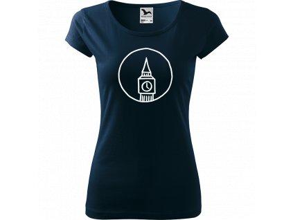 Ručně malované triko námořnické modré s bílým motivem - Big Ben