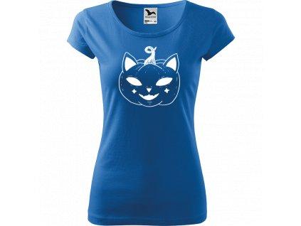Ručně malované triko azurové s bílým motivem - Halloween kočka - Dýně