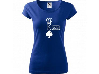 Ručně malované triko modré s bílým motivem - King - Ing.