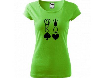 Ručně malované triko světle zelené s černým motivem - King & Queen