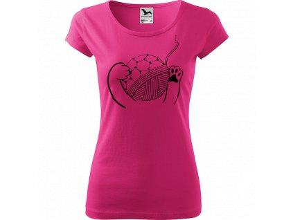 Ručně malované triko růžové s černým motivem - Kočičí packy s Fullerenem