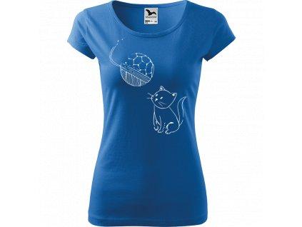 Ručně malované triko azurové s bílým motivem - Kotě s Fullerenem