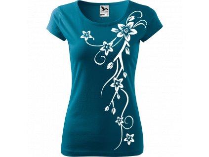 Ručně malované triko petrolejové s bílým motivem - Květiny