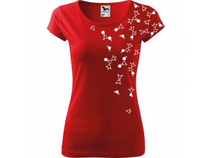 Ručně malované triko červené s bílým motivem - Molekuly