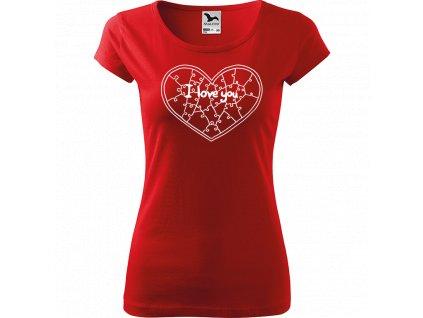 Ručně malované triko červené s bílým motivem - Puzzle Srdce