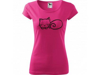 Ručně malované triko růžové s černým motivem - Spící kotě