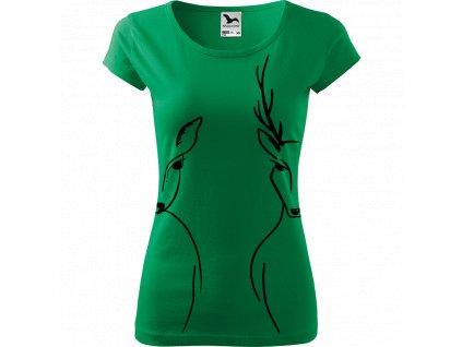 Ručně malované triko středně zelené s černým motivem - Srnka & Jelen - Na bocích