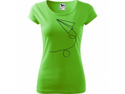 Ručně malované triko světle zelené s černým motivem - Šipka