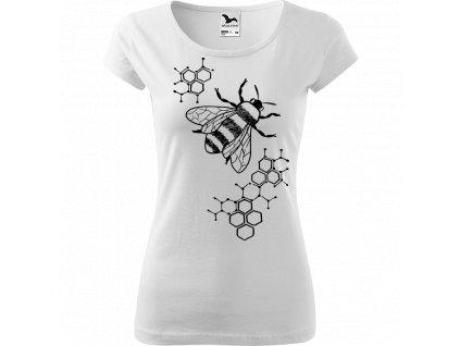 Ručně malované triko bílé s černým motivem - Včela s plástvemi