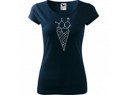 Ručně malované triko námořnické modré s bílým motivem - Zmrzlina - Čokoláda
