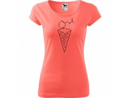 Ručně malované triko korálové s černým motivem - Zmrzlina - Jahoda
