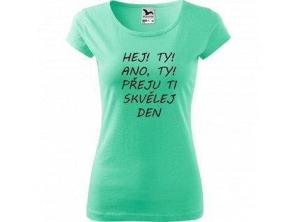 Ručně malované triko mátové s černým motivem - Hej! Ty! Ano, ty! Přeju ti skvělej den!