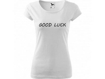 Ručně malované triko bílé s černým motivem - Good Luck