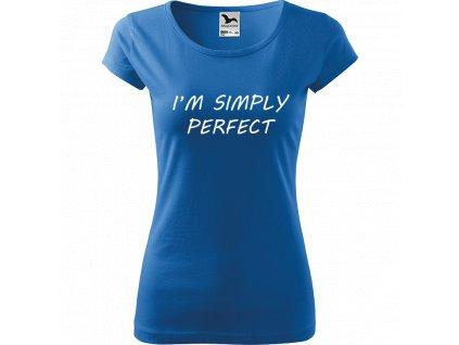 Ručně malované triko azurové s bílým motivem - I'm Simply Perfect