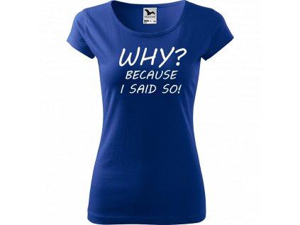Ručně malované triko modré s bílým motivem - Why? Because I said So!