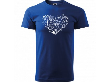 Ručně malované triko modré s bílým motivem - Chemikovo srdce