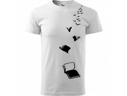Ručně malované triko bílé s černým motivem - Knihy - Létající